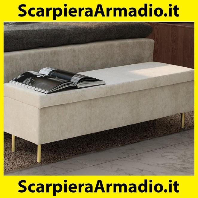 Beige 140 Cm Panca Imbottita XL Pouf Contenitore Moderno Esidra Cassapanca Ecopelle