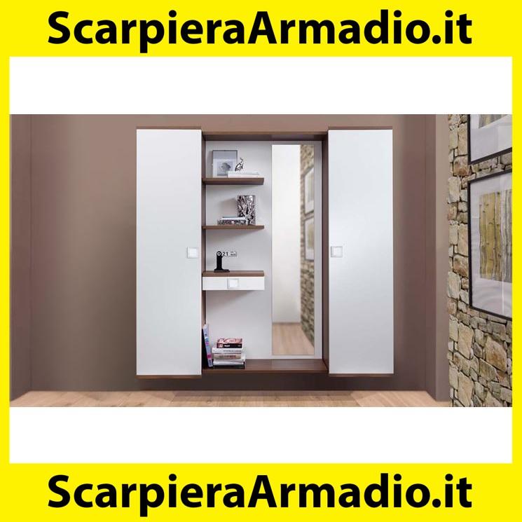 Guardaroba Completo in Legno Laminato di Grigio Cemento dimitazione e Bianco Lucido Solaika AVANTI TRENDSTORE Dimensioni Lap 120x194x37 cm